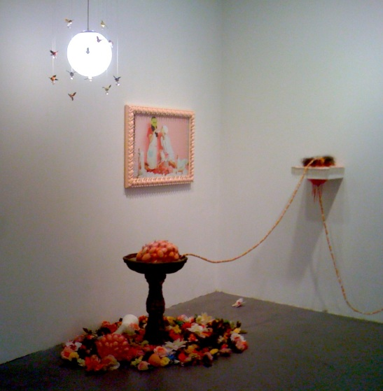 For works by Kikuko Tenaka, Clockwise, Hummingbirds, Still Photo from perfromance of Tragic Bambi, Empathy, and Piss Fountain