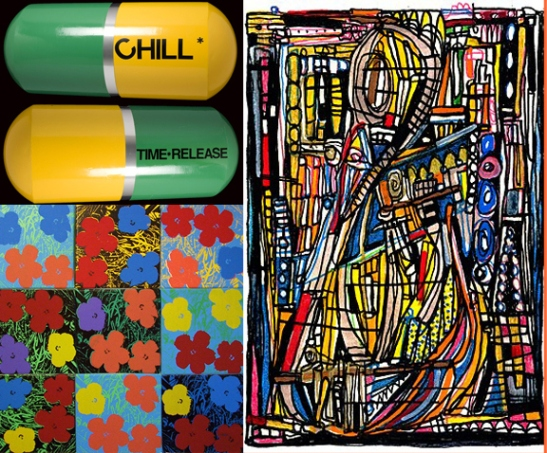 Upper Left: Edie Nadlehaft, Big Chill, Steel and Mixed Media, 2012 Right, Vandal Expressionism, Set to the Tune of 'Rhapsody in Blue' 2013 Below, Eric Doeringer, Warhol / Sturevant / Pettibone
